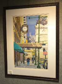 Bob Meyers's painting of downtown Indianapolis