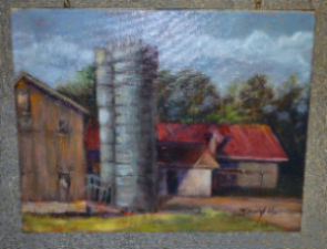 Sandy Hall's painting of an old barn & silos