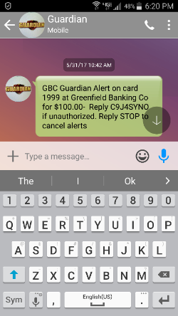Screenshot of GBC Guardian alert in action