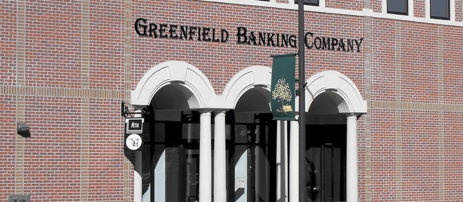 Front of the Downtown office of Greenfield Banking Company